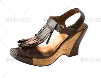 Wedge fringed leather sandal