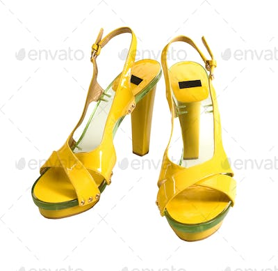 Transparent soled yellow patent leather high heels