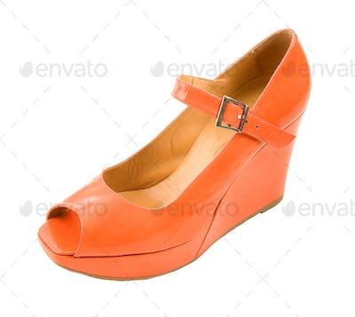 Tangerine patent leather wedged peep toe high heel