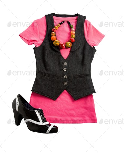 Tweed vest pink styling fashion composition