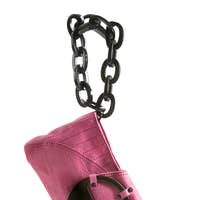 Pink leather handbag with black big links plastic chain