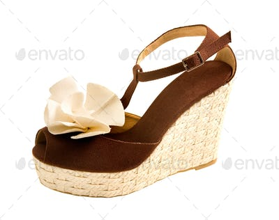 Wedge raffia peep toe sandal with fabric rose
