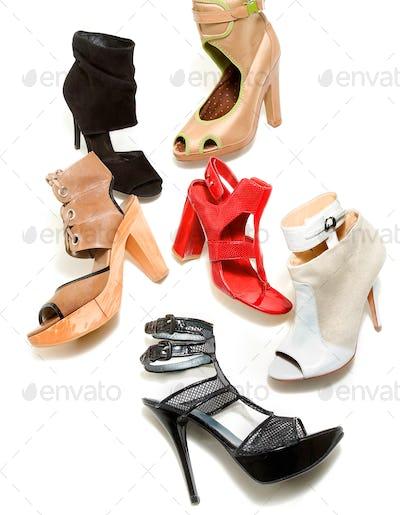 Peep toe booties stilettos fashion still life composition