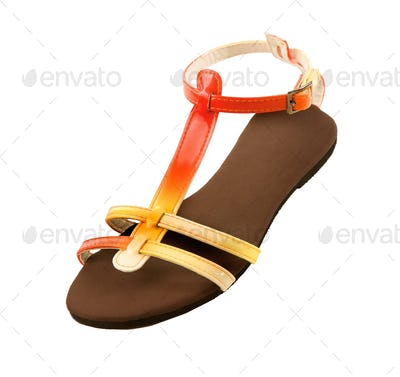 Red to yellow gradient patent leather sandal