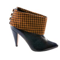 Orange houndstooth check and black leather high heels bootie