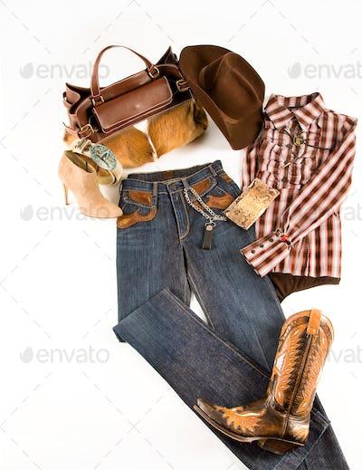 Cowgirl fashion composition