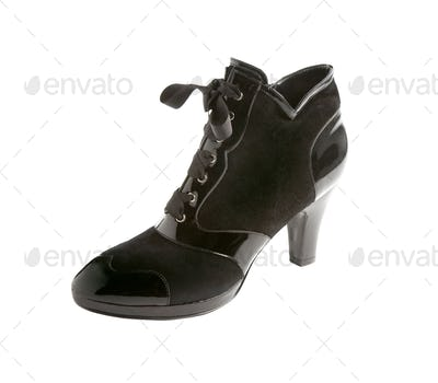 Patent leather and suedelace up heel bootie