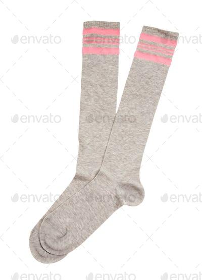 Pink strips grey sport socks