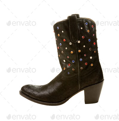 Black cowgirl boot with color crystals