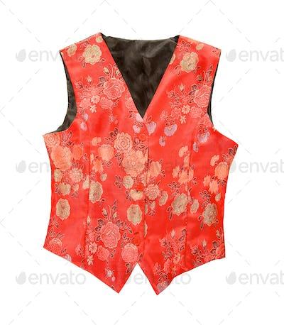 Red flowery vest