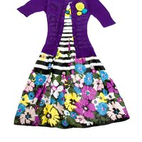 Flowers and stripes dress with knit pullover