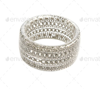 Silver chains in transparent plastic bangle