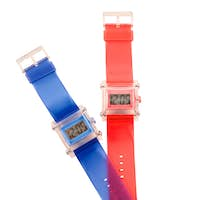 Red and blue simple translucent silicone watches