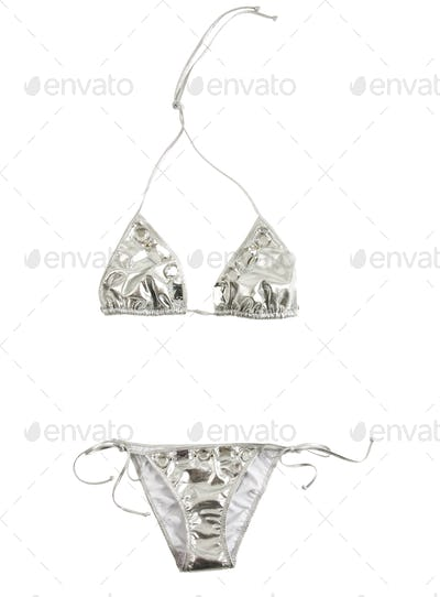 Silver bikini with big carved crystals