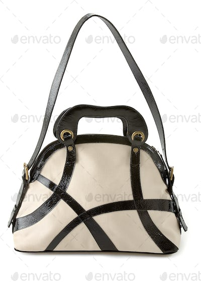 Black and white patent leather straps tote