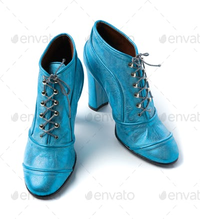 Sky blue metallized leather high heels booties