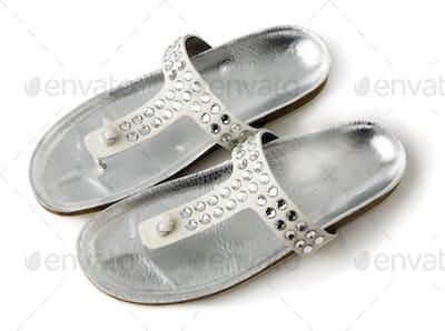 Carved crystals silver flip flop sandals