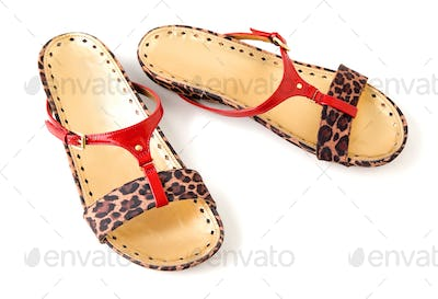 Red patent leather and leopard pattern flip flop sandals