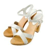Wooden soled white leather high heeled elegant sandals