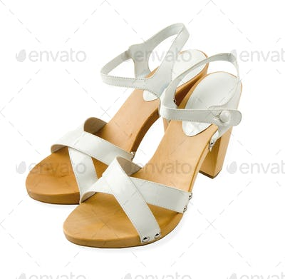 Wooden soled white leather high heeled elegant sandals