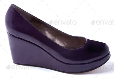 Wedged dark purple patent leather pump