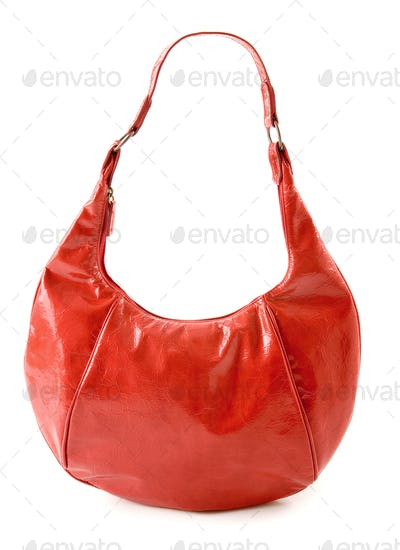 Kidney shaped red leather handbag
