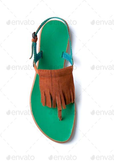 Fringed suede flip flop sandal