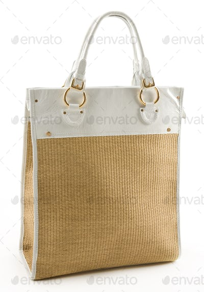 Raffia and white leather basket tote