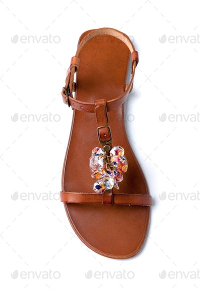 Carved colored crystals leather sandal
