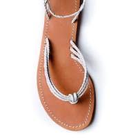 White braided leather flip flop sandal