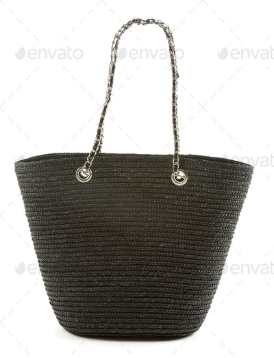 Black basket tote with chain and leather handle