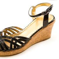 Black patent leather cork wedged sandal