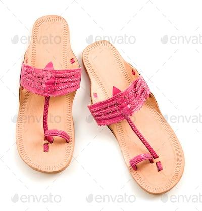 Pink leather flip flop sandals