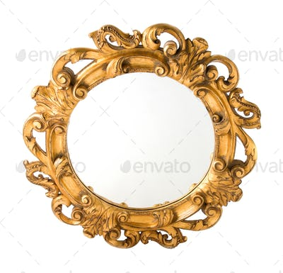 Round Carved Wood Gilded Wall Mirror