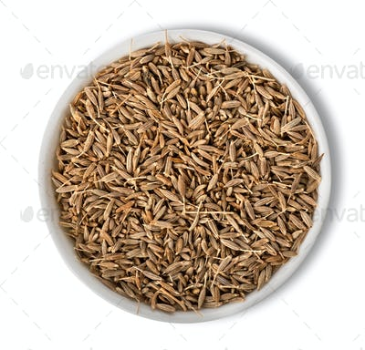 Cumin in plate isolated