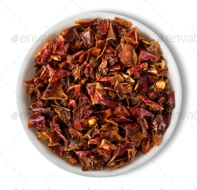 Chopped peppers in plate isolated