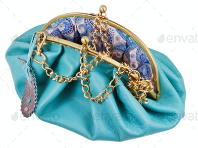 open blue leather retro style hanbag