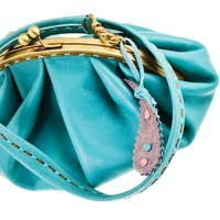 blue leather retro style clutch bag