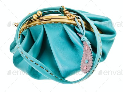 blue leather retro style clutch bag