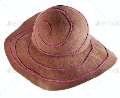 brown broad-brim felt hat