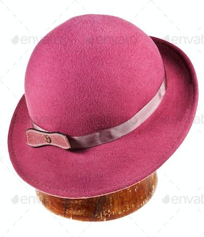 woman felt magenta hat with wide brim