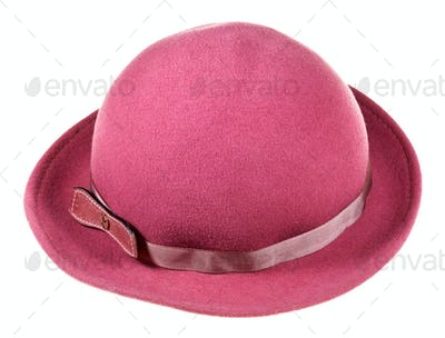 woman felt magenta hat with wide brim