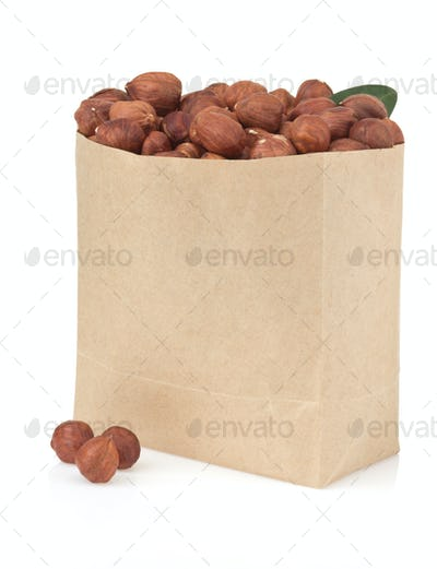 nuts filbert on white