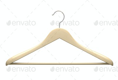 Wood hanger isolated on the white background