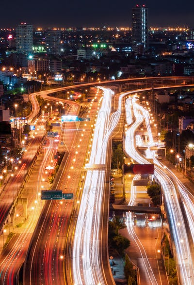 Tollway traffic in the night