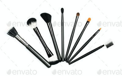 Professional makeup brush set on white