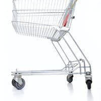 Empty shopping cart on white