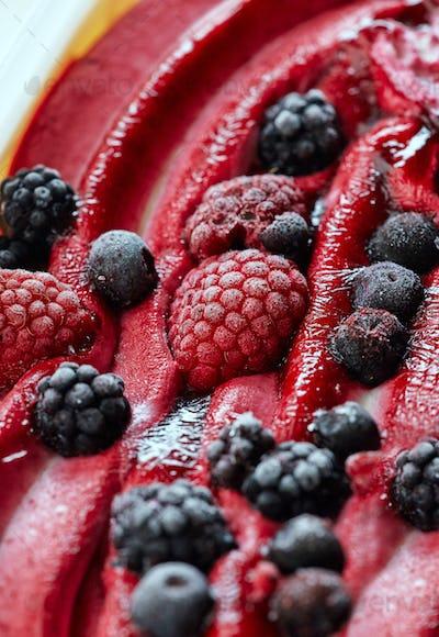 Ice cream with fresh frozen berries