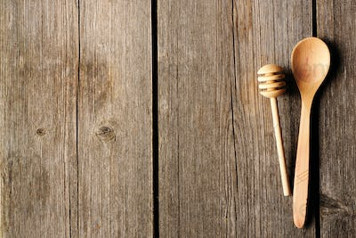 Wooden spoon and dipper