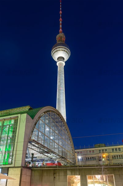 TV-tower in Berlin at night